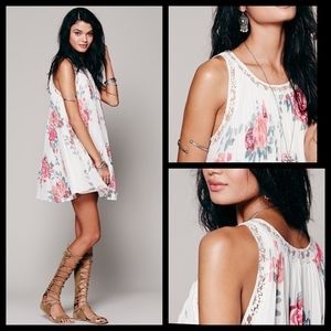Free People Pleated Floral Trapeze Swing Dress